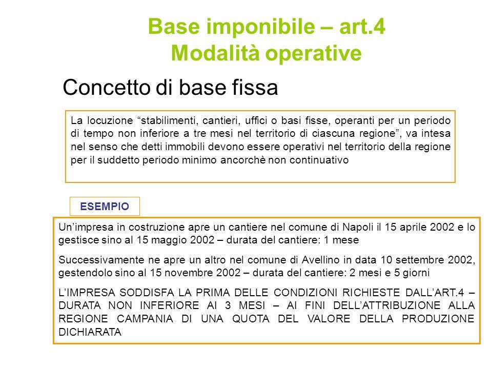 Base imponibile – art.4 Modalità operative