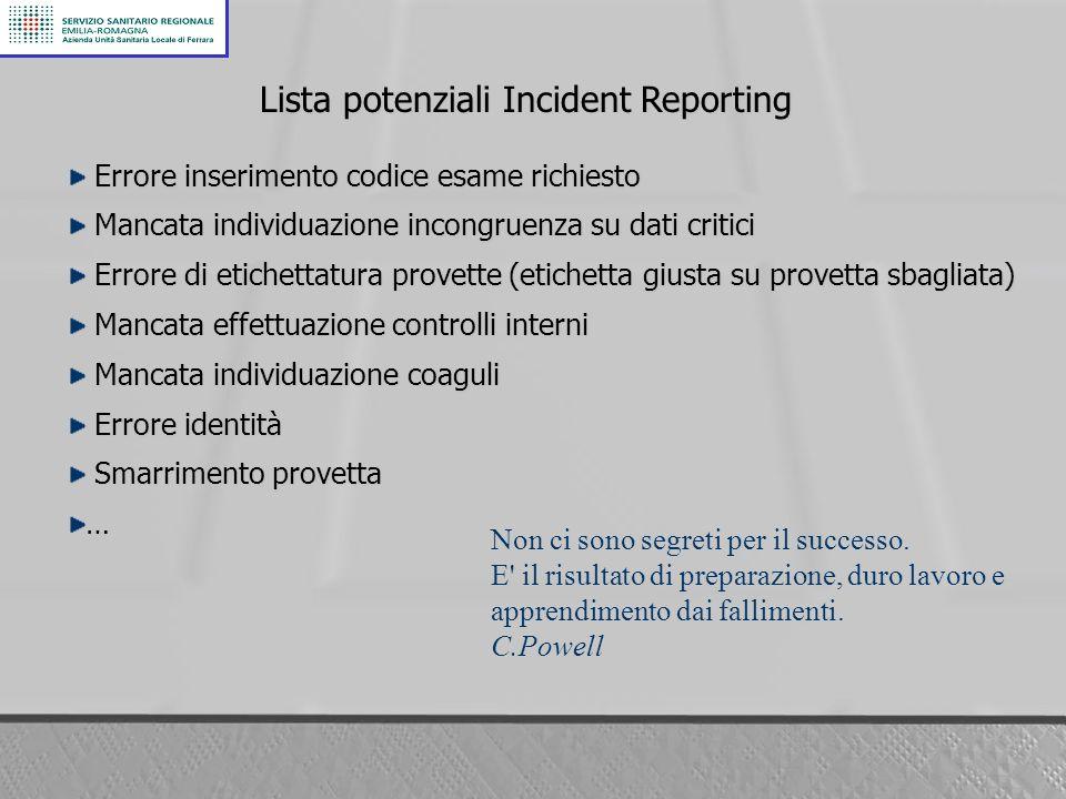 Lista potenziali Incident Reporting
