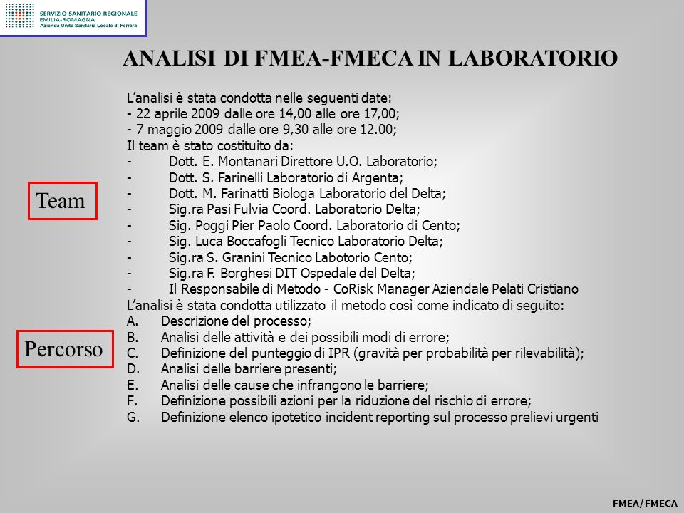 ANALISI DI FMEA-FMECA IN LABORATORIO