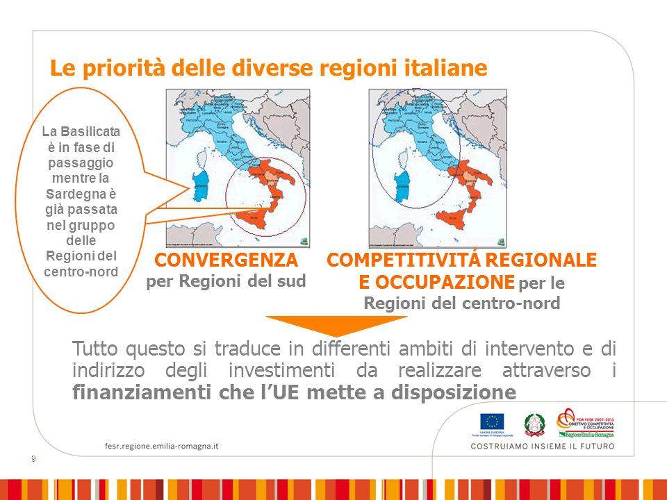 COMPETITIVITÁ REGIONALE E OCCUPAZIONE per le Regioni del centro-nord
