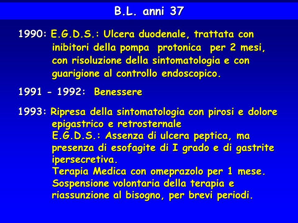 B.L. anni 37 1990: E.G.D.S.: Ulcera duodenale, trattata con