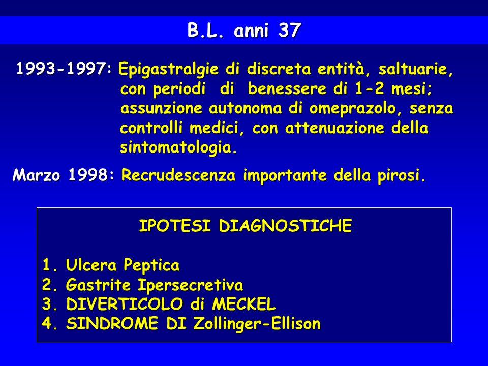 B.L. anni 37 1993-1997: Epigastralgie di discreta entità, saltuarie,