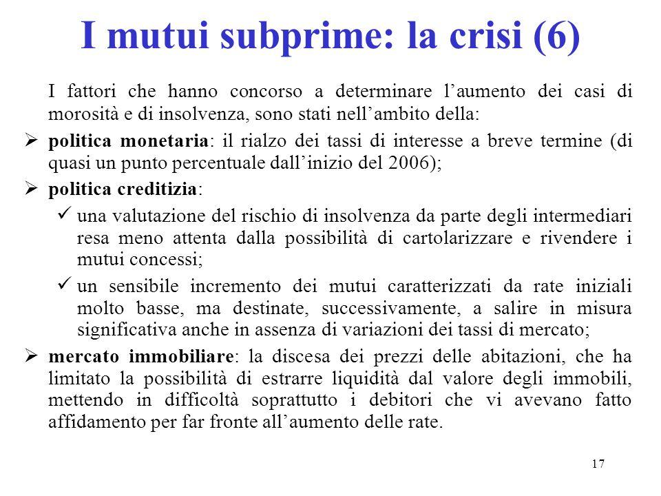 I mutui subprime: la crisi (6)
