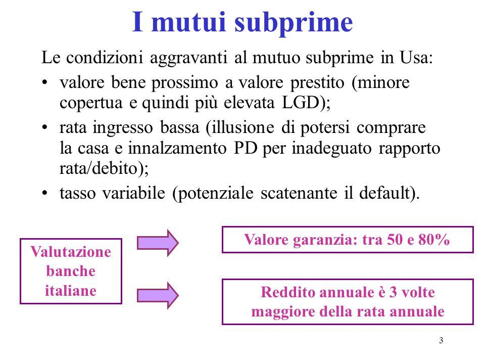 I mutui subprime Le condizioni aggravanti al mutuo subprime in Usa: