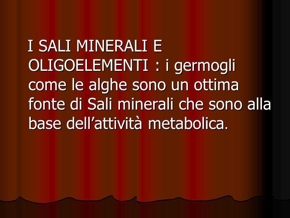 I SALI MINERALI E OLIGOELEMENTI : i germogli come le alghe sono un ottima fonte di Sali minerali che sono alla base dell'attività metabolica.