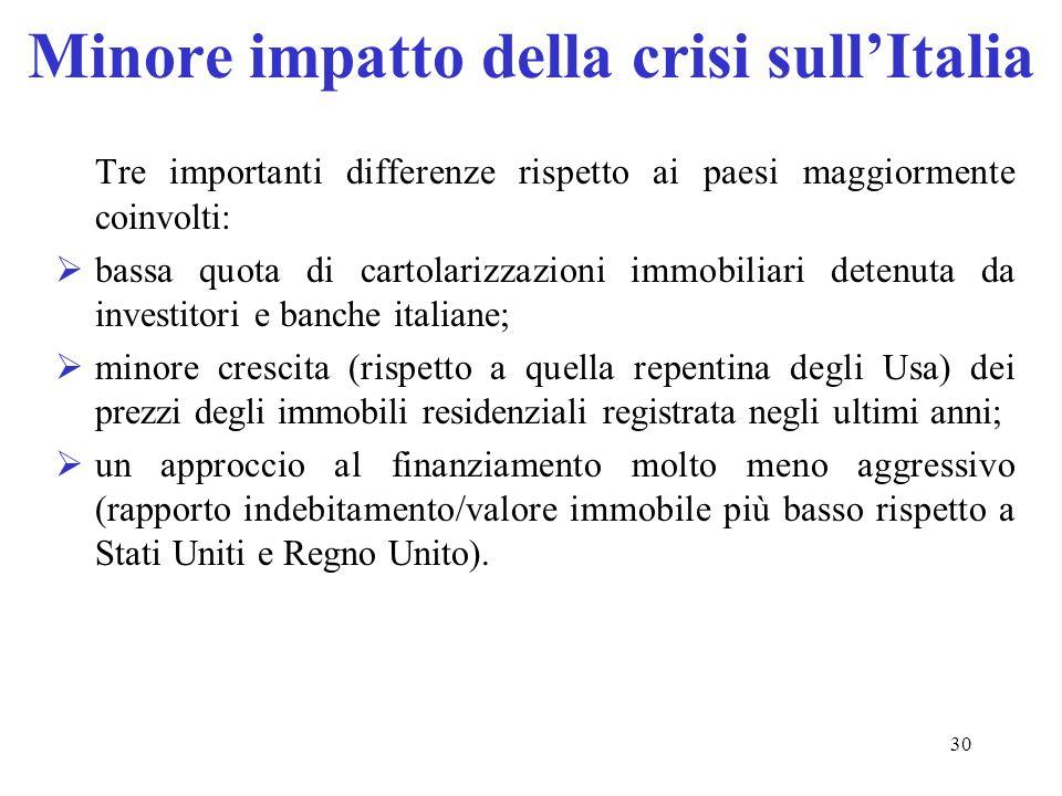 Minore impatto della crisi sull'Italia