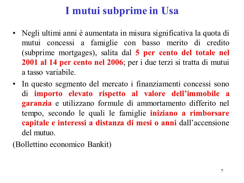 I mutui subprime in Usa