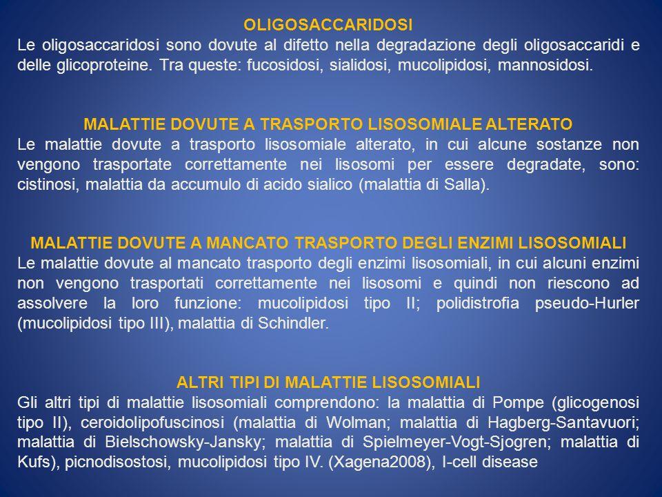 MALATTIE DOVUTE A TRASPORTO LISOSOMIALE ALTERATO