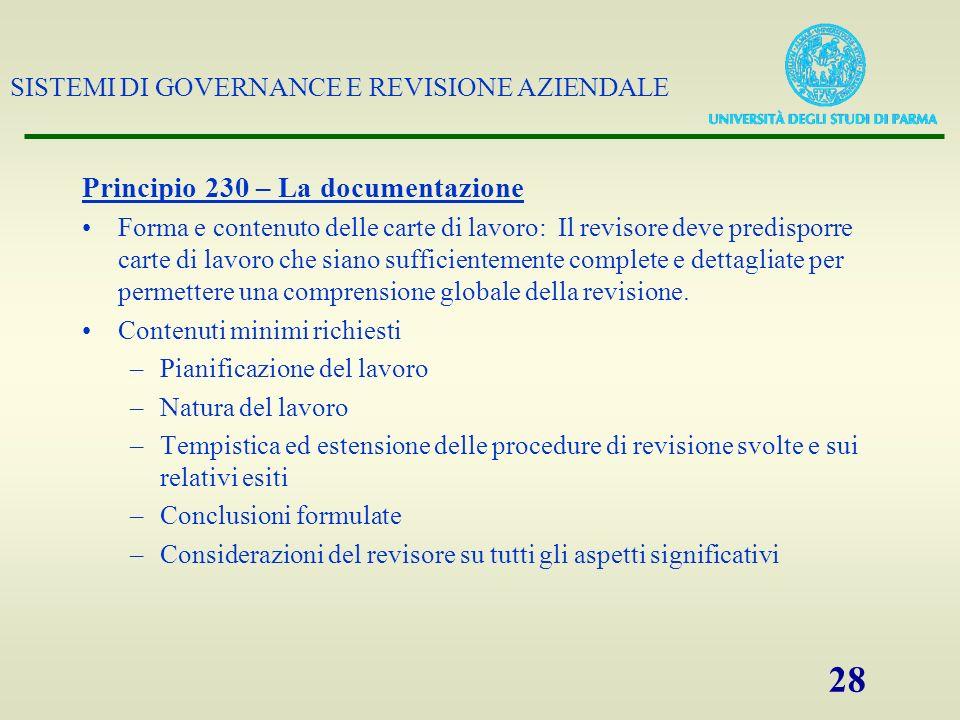 Principio 230 – La documentazione