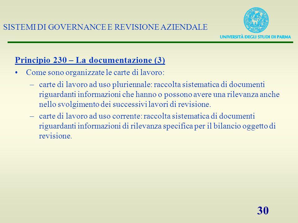 Principio 230 – La documentazione (3)