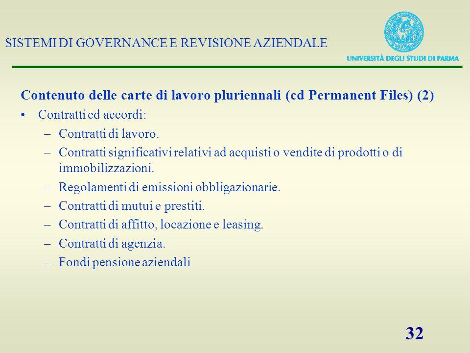 Contenuto delle carte di lavoro pluriennali (cd Permanent Files) (2)