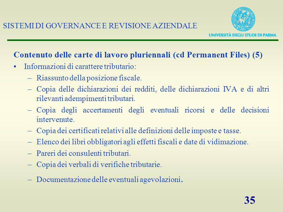Contenuto delle carte di lavoro pluriennali (cd Permanent Files) (5)
