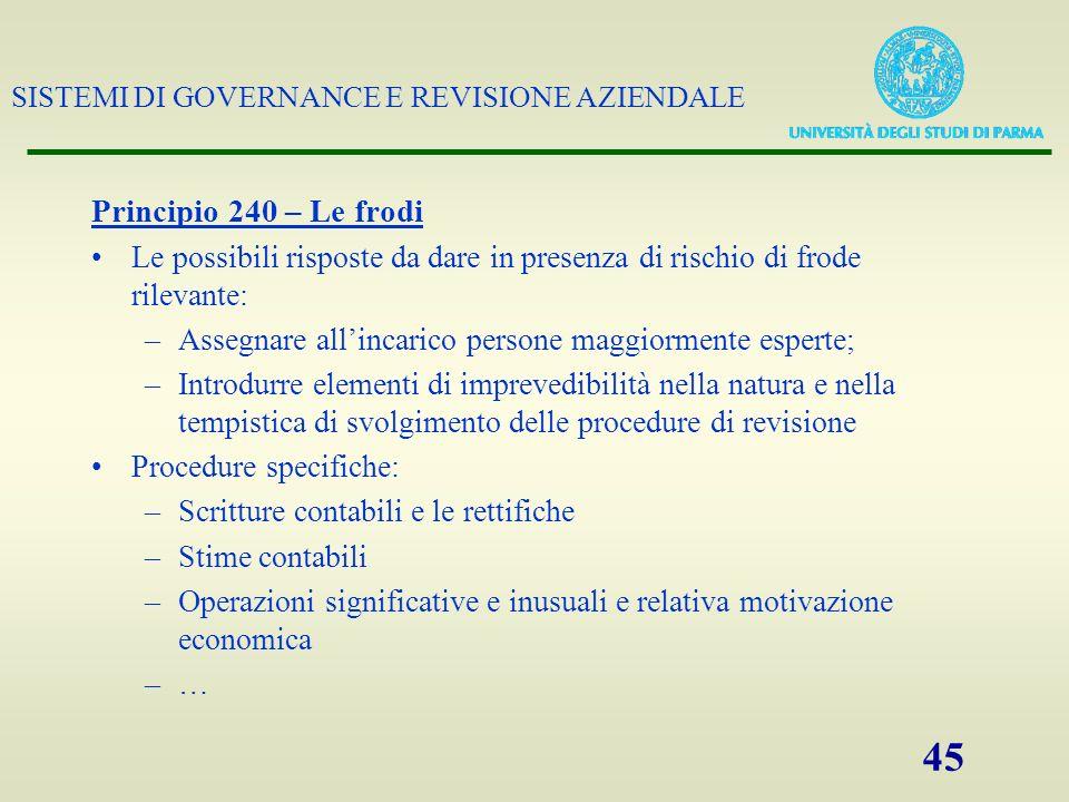 Principio 240 – Le frodi Le possibili risposte da dare in presenza di rischio di frode rilevante: