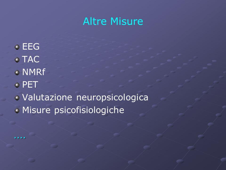 Altre Misure EEG TAC NMRf PET Valutazione neuropsicologica
