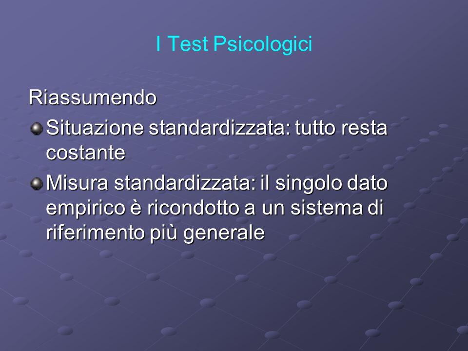 I Test Psicologici Riassumendo. Situazione standardizzata: tutto resta costante.