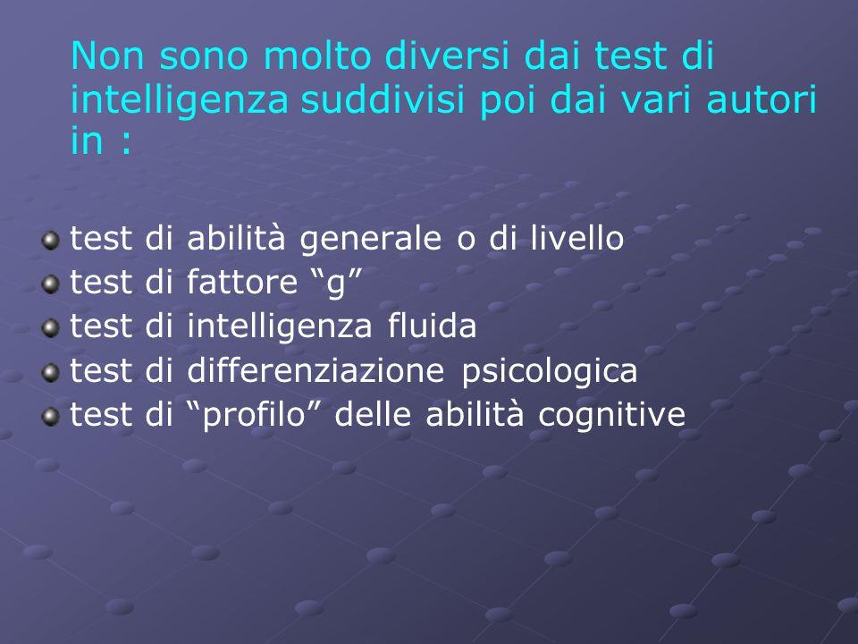 Non sono molto diversi dai test di intelligenza suddivisi poi dai vari autori in :