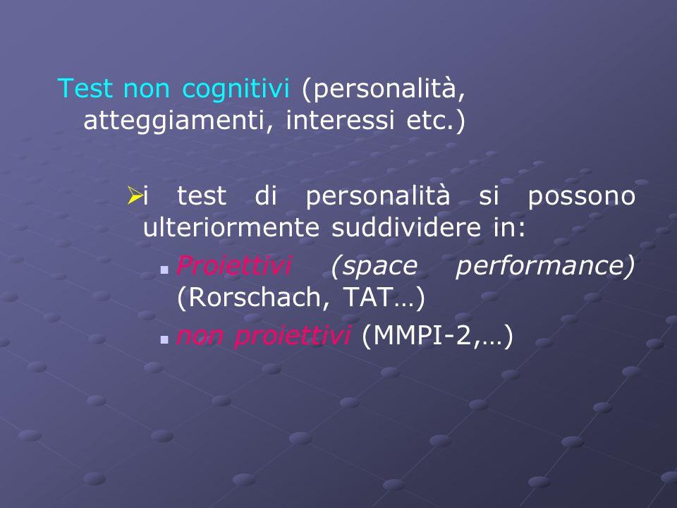 Test non cognitivi (personalità, atteggiamenti, interessi etc.)