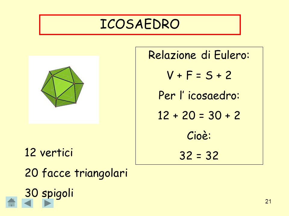 ICOSAEDRO Relazione di Eulero: V + F = S + 2 Per l' icosaedro: