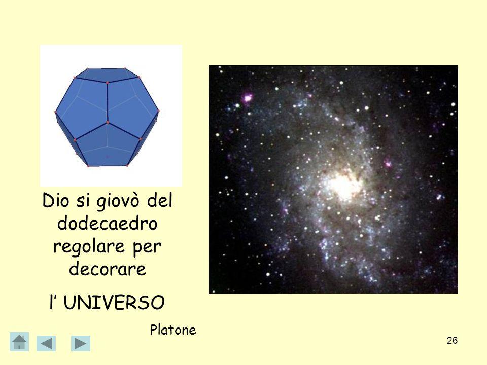 Dio si giovò del dodecaedro regolare per decorare