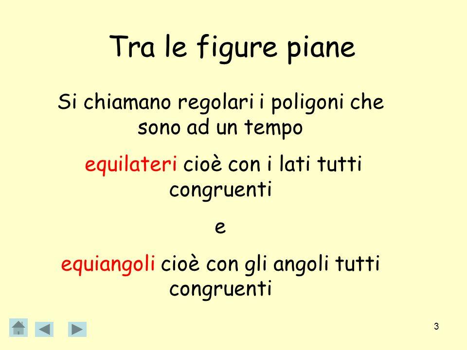 Tra le figure piane Si chiamano regolari i poligoni che sono ad un tempo. equilateri cioè con i lati tutti congruenti.