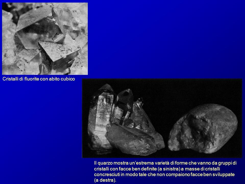 Cristalli di fluorite con abito cubico