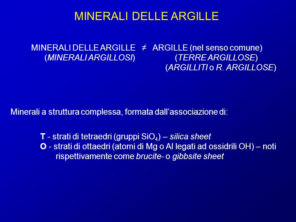 MINERALI DELLE ARGILLE