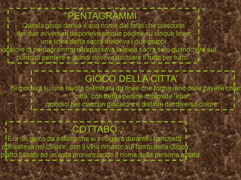PENTAGRAMMI GIOCO DELLA CITTA' COTTABO