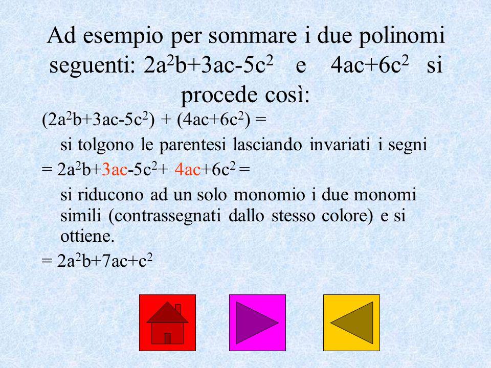 Ad esempio per sommare i due polinomi seguenti: 2a2b+3ac-5c2 e 4ac+6c2 si procede così: