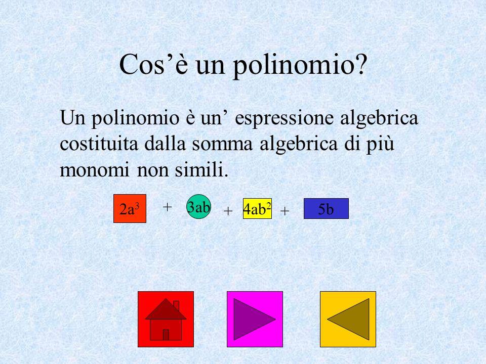Cos'è un polinomio Un polinomio è un' espressione algebrica costituita dalla somma algebrica di più monomi non simili.
