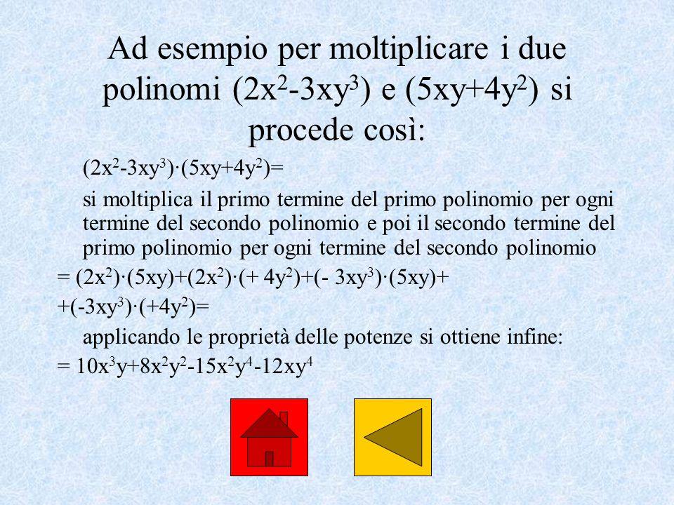 Ad esempio per moltiplicare i due polinomi (2x2-3xy3) e (5xy+4y2) si procede così: