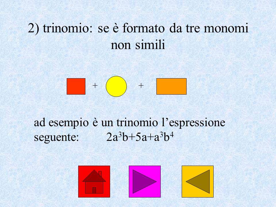 2) trinomio: se è formato da tre monomi non simili
