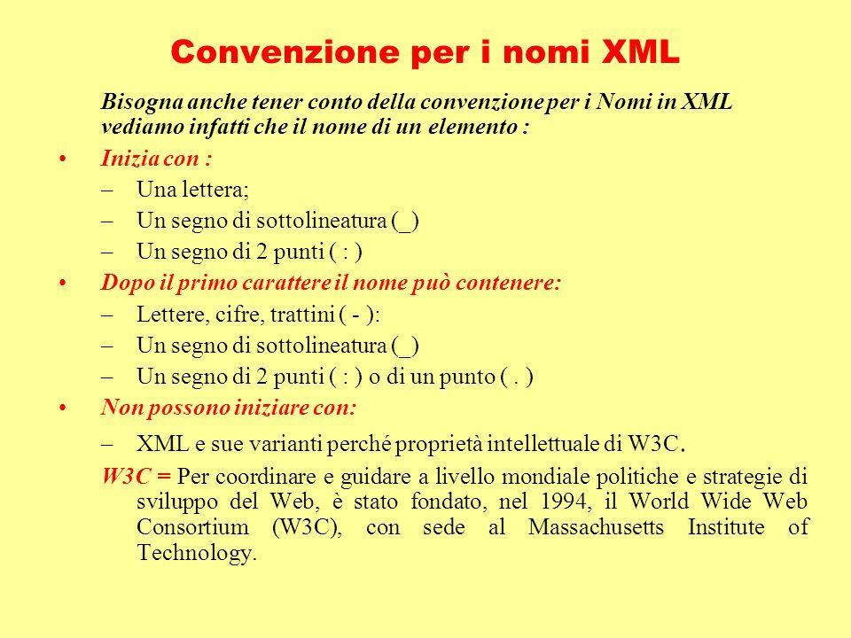 Convenzione per i nomi XML