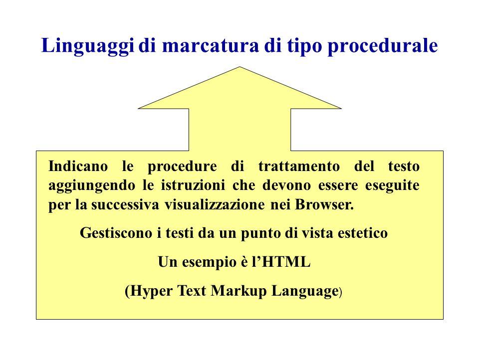 Linguaggi di marcatura di tipo procedurale