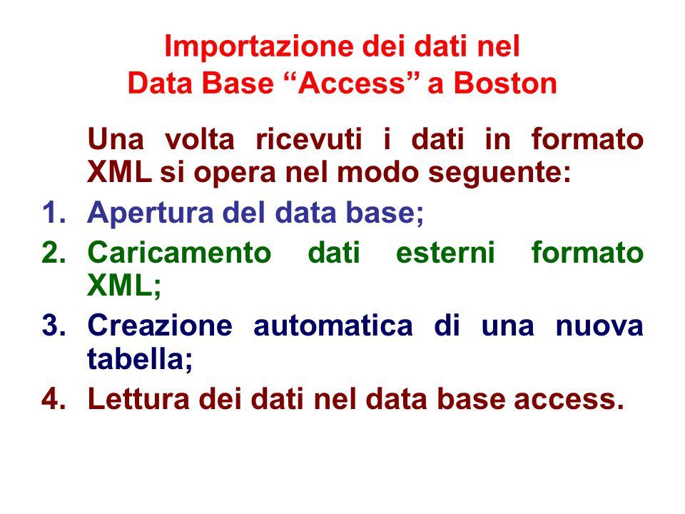 Importazione dei dati nel Data Base Access a Boston