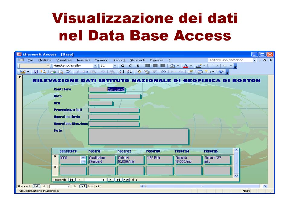 Visualizzazione dei dati nel Data Base Access