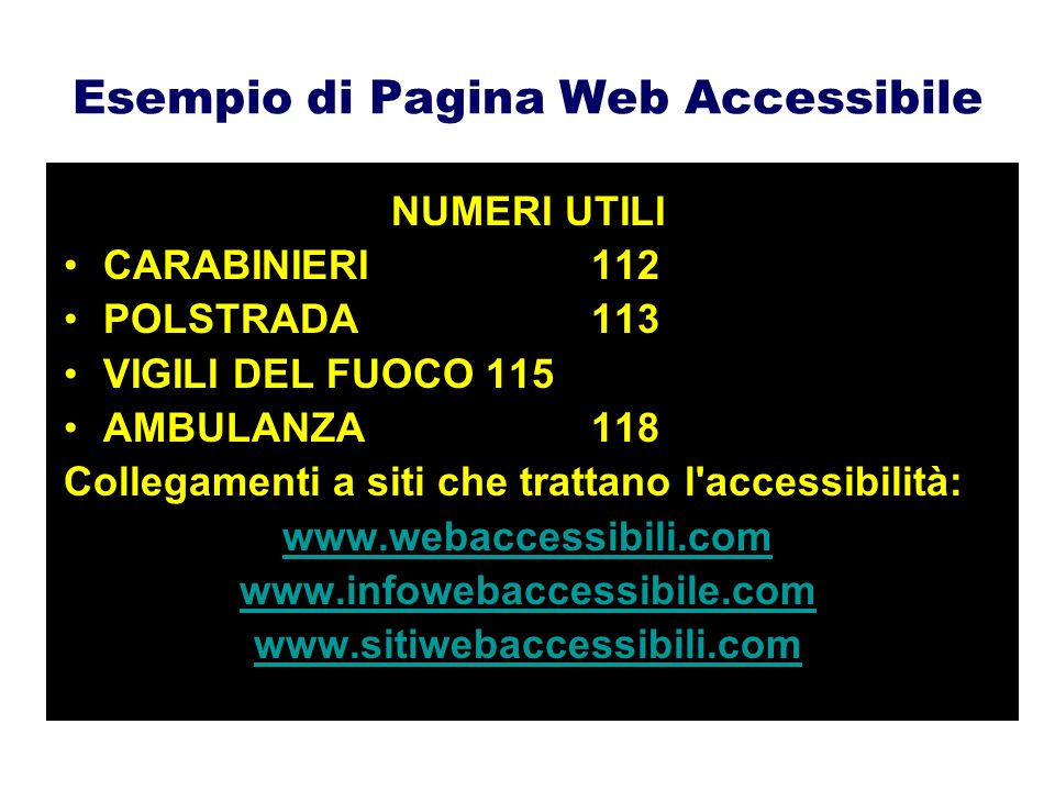 Esempio di Pagina Web Accessibile