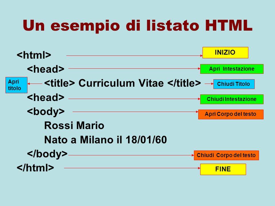 Un esempio di listato HTML