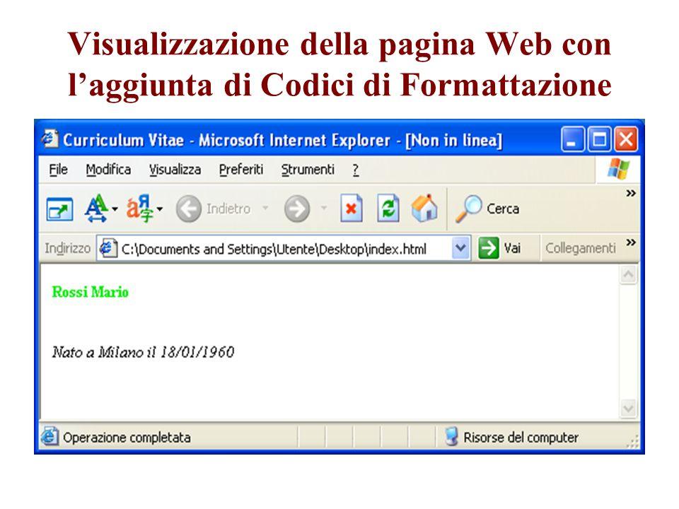 Visualizzazione della pagina Web con l'aggiunta di Codici di Formattazione