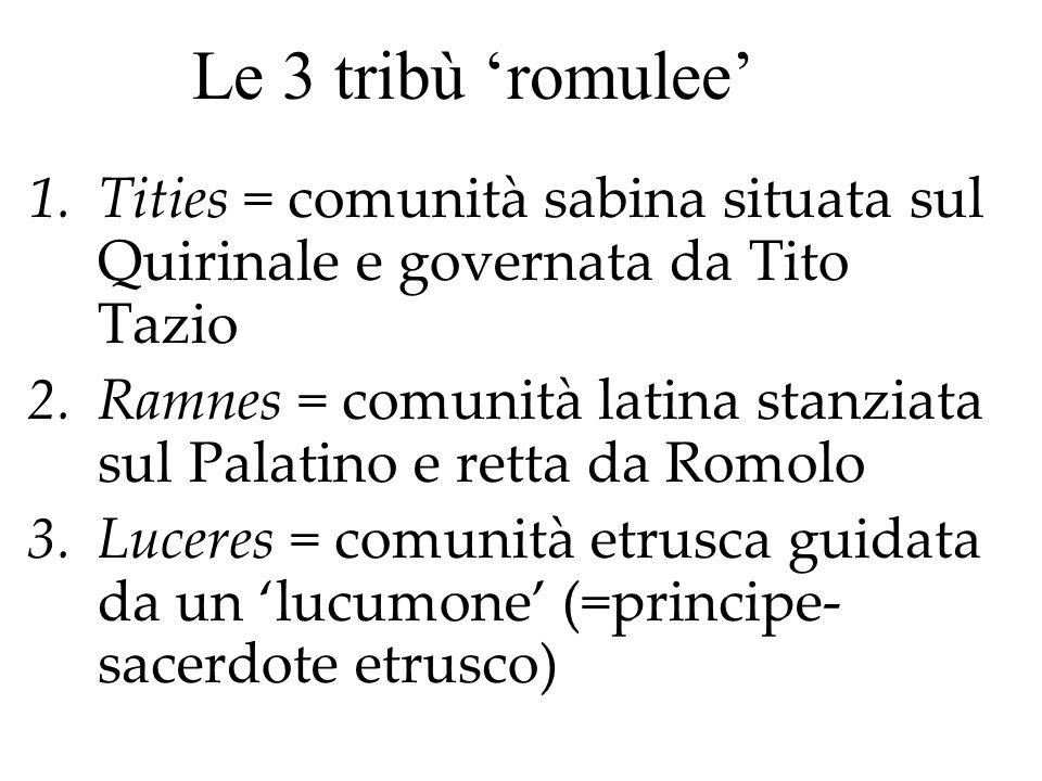 Le 3 tribù 'romulee' Tities = comunità sabina situata sul Quirinale e governata da Tito Tazio.