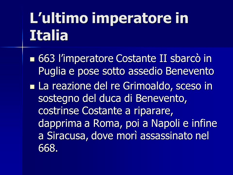 L'ultimo imperatore in Italia