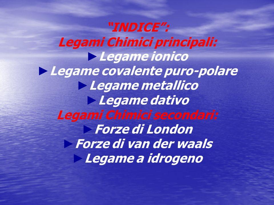 Legami Chimici principali: ►Legame ionico