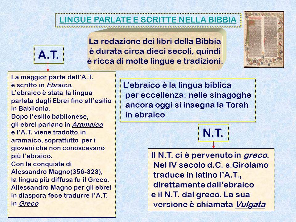A.T. N.T. LINGUE PARLATE E SCRITTE NELLA BIBBIA