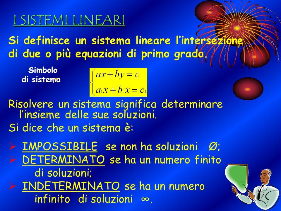 I SISTEMI LINEARI Si definisce un sistema lineare l'intersezione