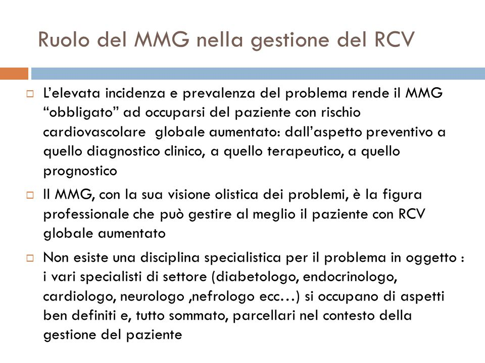 Ruolo del MMG nella gestione del RCV