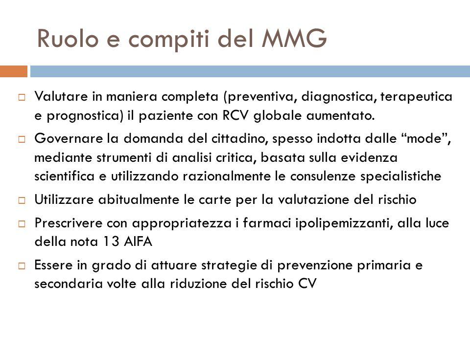 Ruolo e compiti del MMG Valutare in maniera completa (preventiva, diagnostica, terapeutica e prognostica) il paziente con RCV globale aumentato.