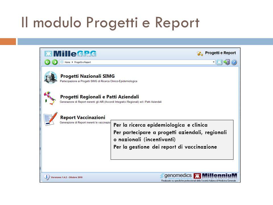 Il modulo Progetti e Report