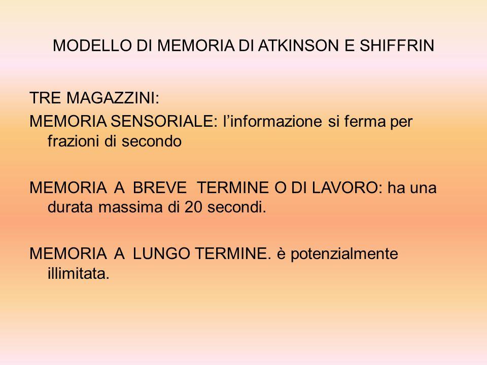 MODELLO DI MEMORIA DI ATKINSON E SHIFFRIN