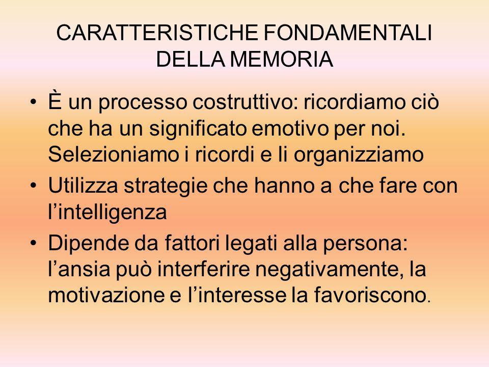 CARATTERISTICHE FONDAMENTALI DELLA MEMORIA