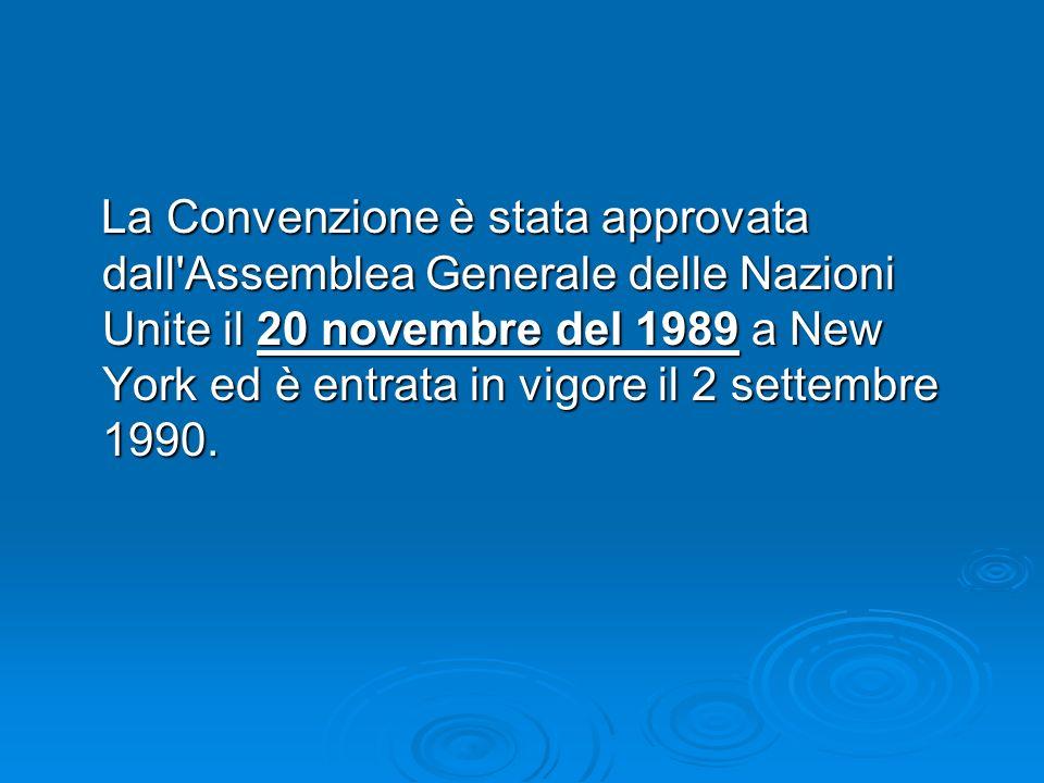 La Convenzione è stata approvata dall Assemblea Generale delle Nazioni Unite il 20 novembre del 1989 a New York ed è entrata in vigore il 2 settembre 1990.