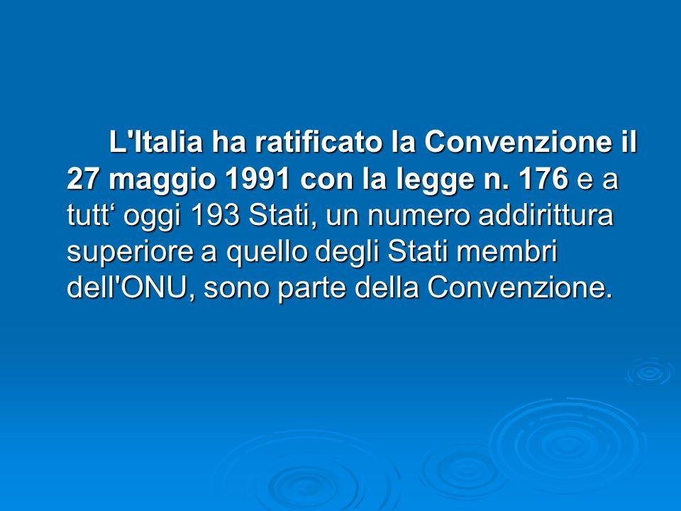 L Italia ha ratificato la Convenzione il 27 maggio 1991 con la legge n